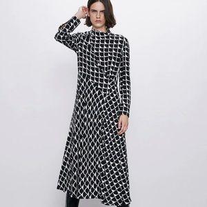 Zara Women Midi Geometric Printed Dress XL